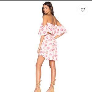 Wildfox pink grapefruit off shoulder cutout dress